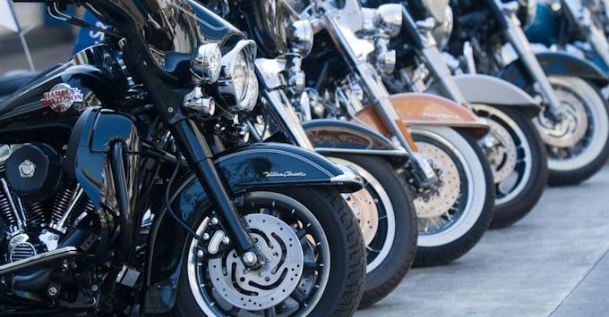 Line of Harley Davidsons